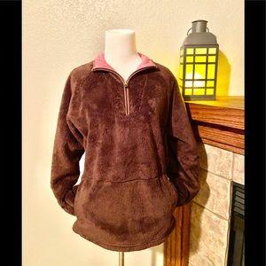 EUC-Brown North Face Fleece 1/4 Zip Jacket